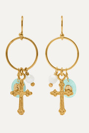Gold-plated, amazonite and bead earrings