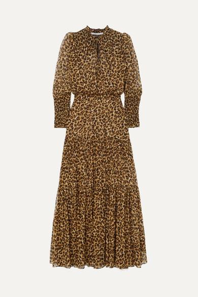 Veronica Beard Dresses Stacia tiered leopard-print silk-georgette maxi dress