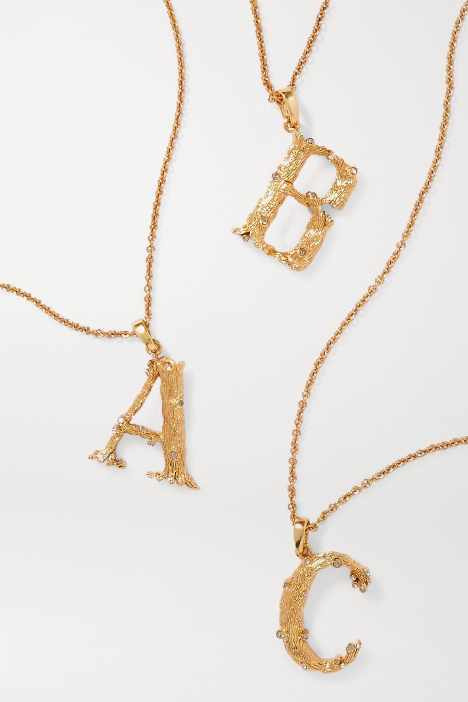 Oscar de la Renta Letter vergoldete Kette mit Kristallen