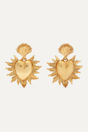 Oscar de la Renta Sacred Heart gold-tone earrings