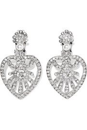 Oscar de la Renta Heart Drop silver-tone, crystal and faux pearl clip earrings