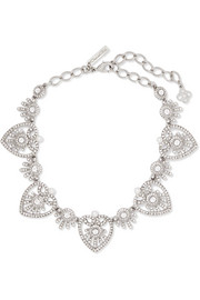 Oscar de la Renta Silver-tone crystal and faux pearl necklace
