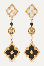 Buccellati Opera 18-karat gold, mother-of-pearl and onyx earrings
