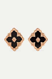 Opera 18-karat pink gold onyx earrings