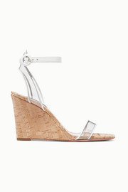 Aquazzura Minimalist 85 leather and PVC wedge sandals
