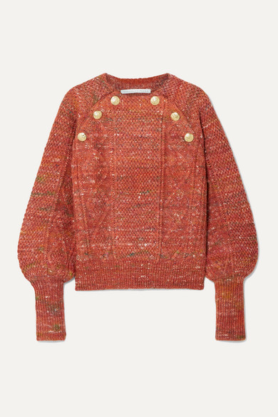 Veronica Beard Knits Adelaida button-embellished cable-knit sweater