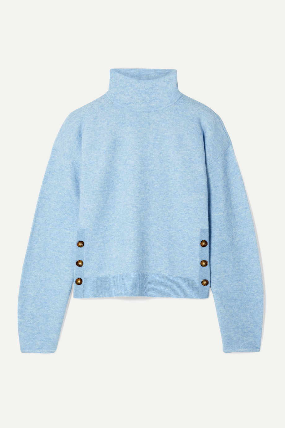 Veronica Beard Cady button-detailed knitted turtleneck sweater