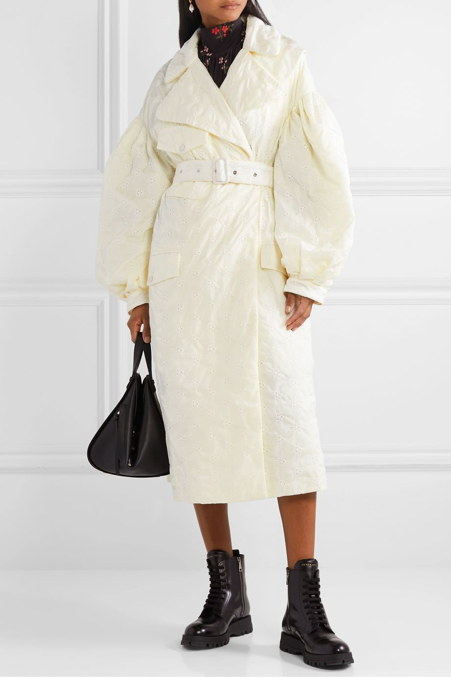 Moncler Genius + 4 Simone Rocha Dinah belted broderie anglaise shell coat