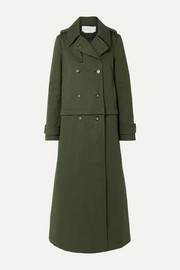 Gabriela Hearst Gusev convertible brushed cotton-canvas trench coat