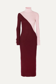 Gabriela Hearst Nazim two-tone ribbed cashmere and silk-blend turtleneck maxi dress