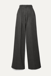 Vargas belted brushed-cashmere wide-leg pants