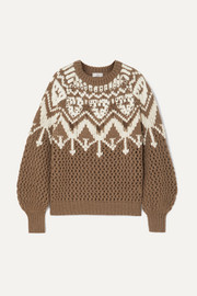Bead-embellished Fair Isle cashmere sweater