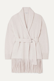 Belted ribbed fringed cashmere cardigan