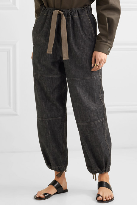 Bead-embellished denim tapered pants