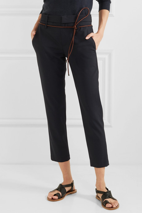 Belted cropped wool-blend slim-fit pants