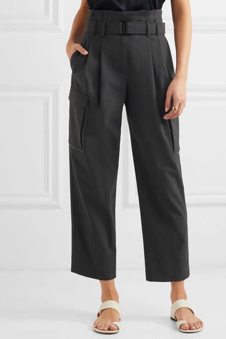 Cropped belted bead-embellished wool-blend wide-leg pants