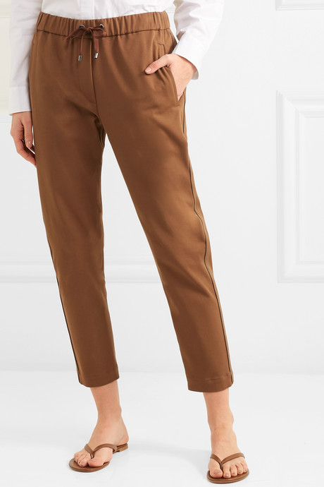 Bead-embellished cropped stretch cotton and wool-blend tapered track pants
