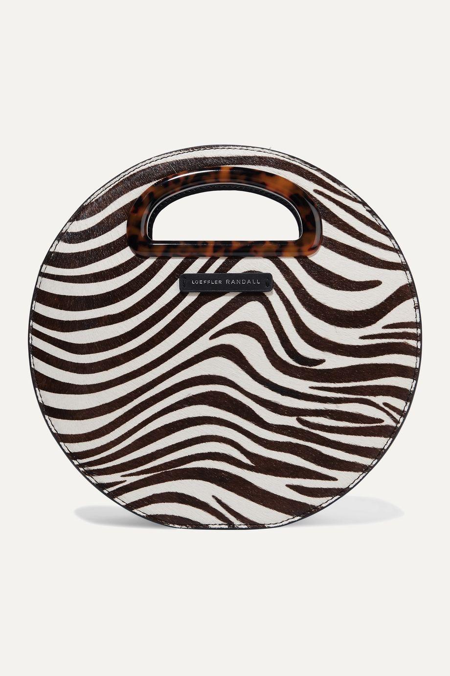 Loeffler Randall Indy zebra-print calf hair shoulder bag