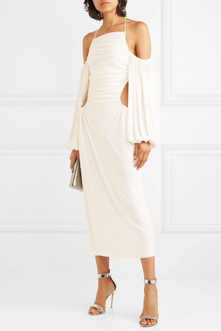 Dion Lee Ruched cutout jersey midi dress