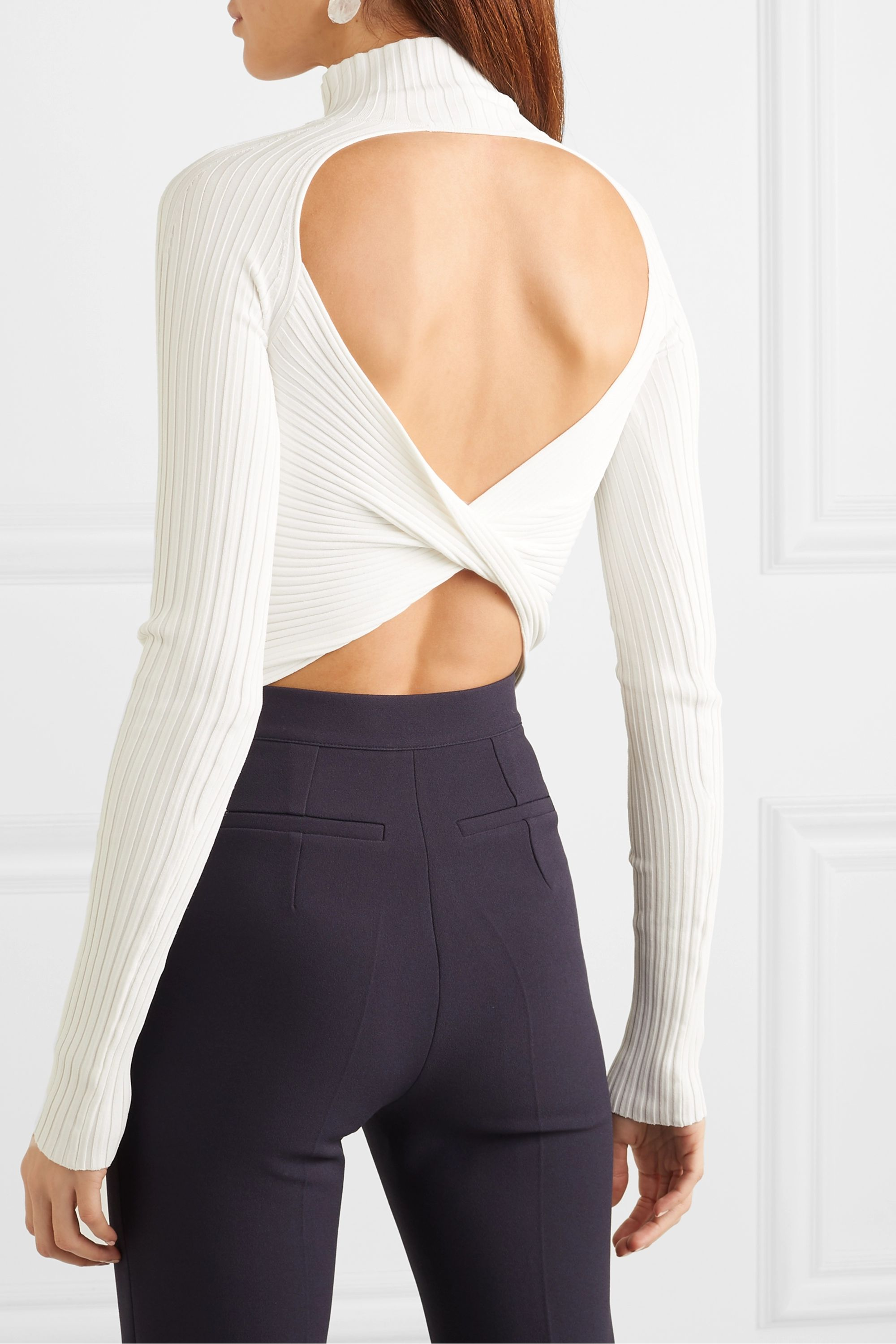 Dion Lee Twisted cutout ribbed-knit top