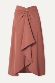 Dion Lee Embellished draped cady midi skirt