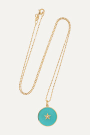 New/ Full Moon 18-karat gold, enamel and diamond necklace