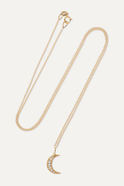 Crescent Moon 18-karat rose gold diamond necklace