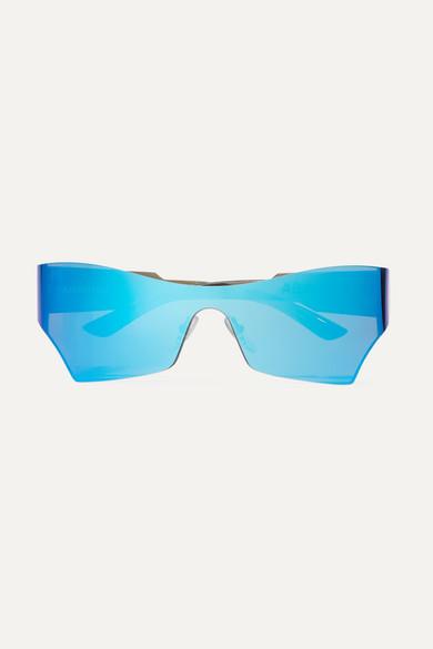 BALENCIAGA | Balenciaga - Cat-Eye Acetate Mirrored Sunglasses - Blue | Goxip