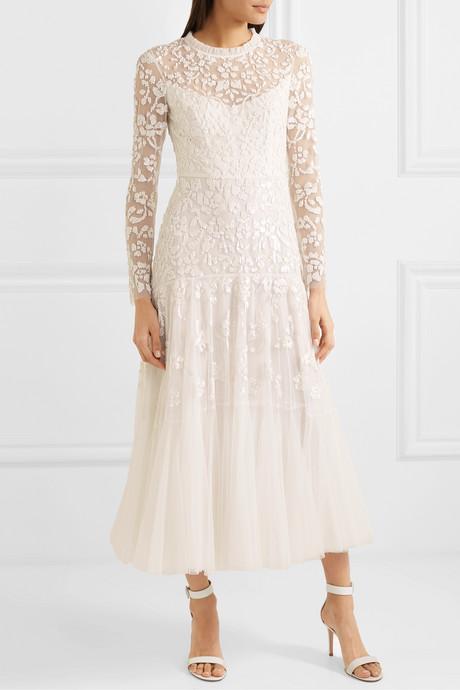 Bella embellished tulle midi dress