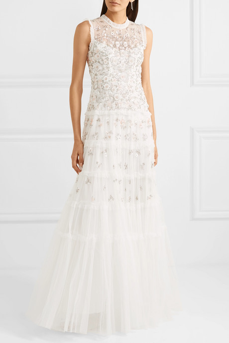 Ruffled embellished tulle gown