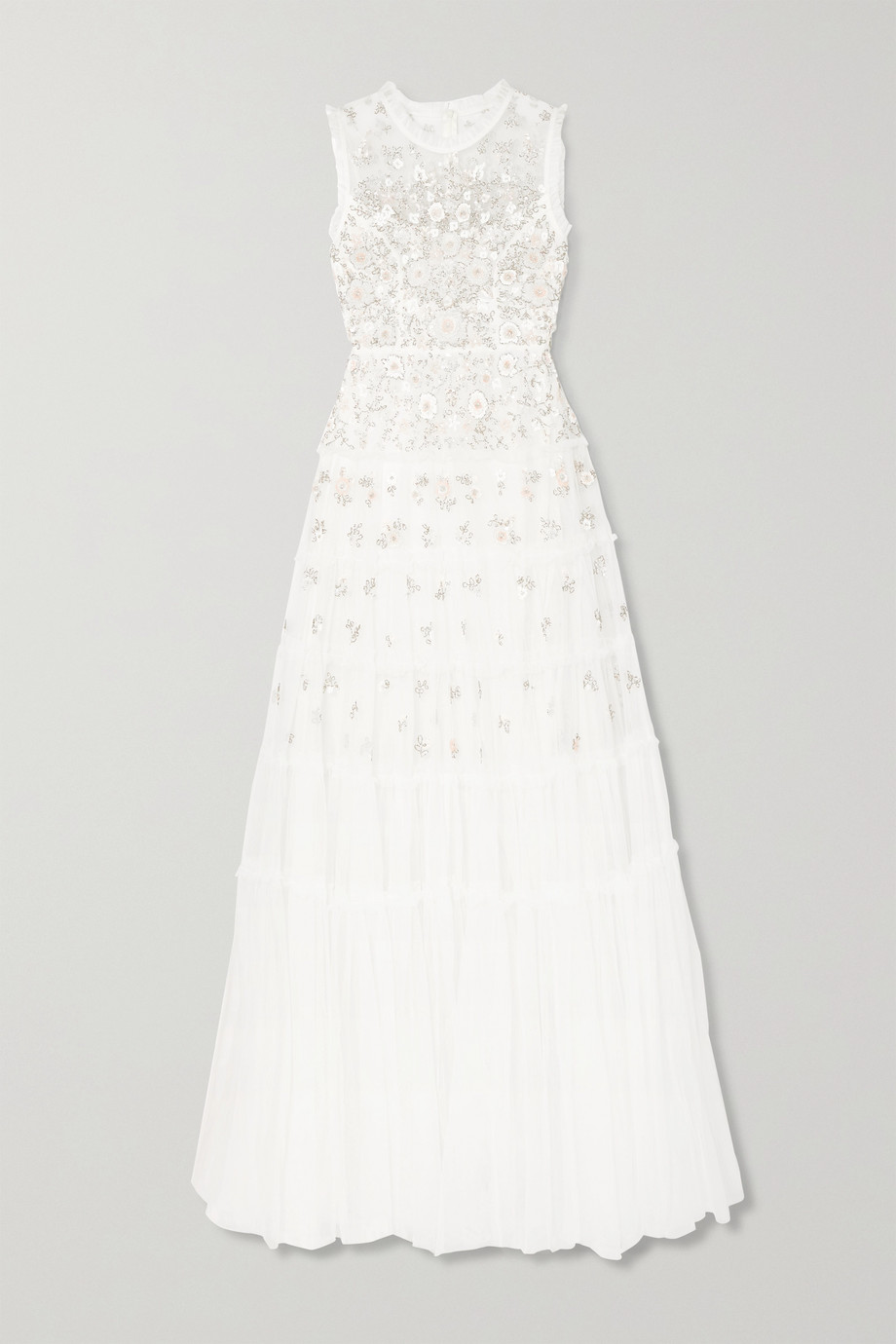 Needle & Thread Ruffled embellished tulle gown