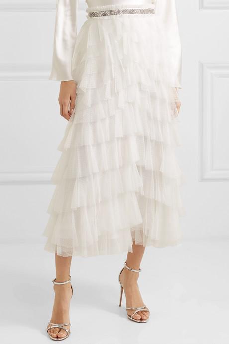 Leilah crystal-embellished ruffled tulle midi skirt