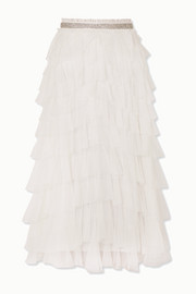 Needle & Thread Leilah crystal-embellished ruffled tulle midi skirt