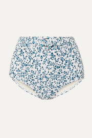 Peony + NET SUSTAIN floral-print belted bikini briefs