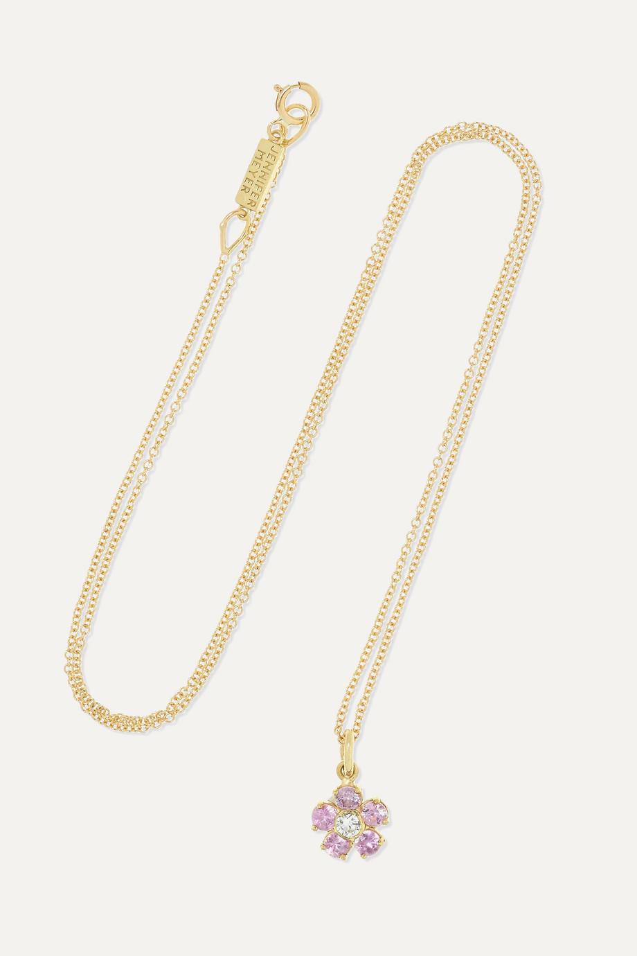 Jennifer Meyer Flower 18-karat gold, sapphire and diamond necklace