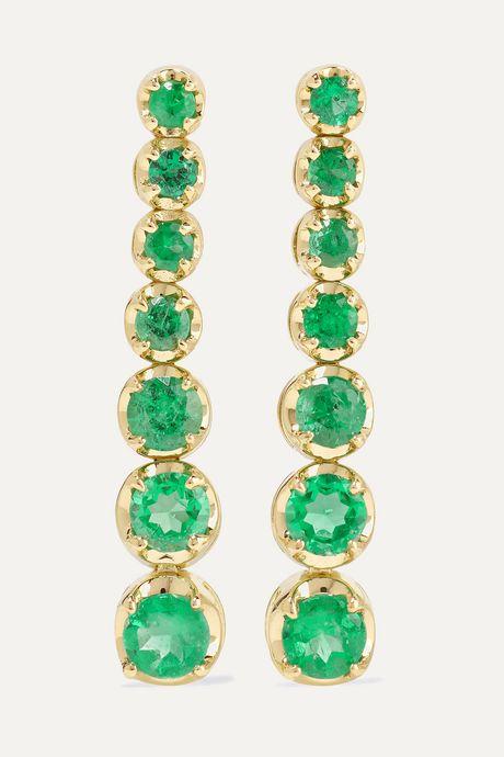 Gold 18-karat gold emerald earrings   Jennifer Meyer WMUjqq