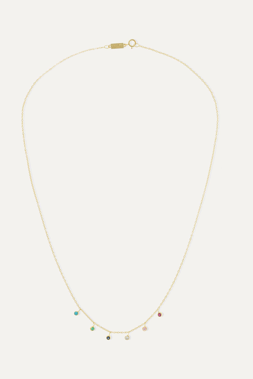 Jennifer Meyer Kette aus 18Karat Gold mit mehreren Steinen