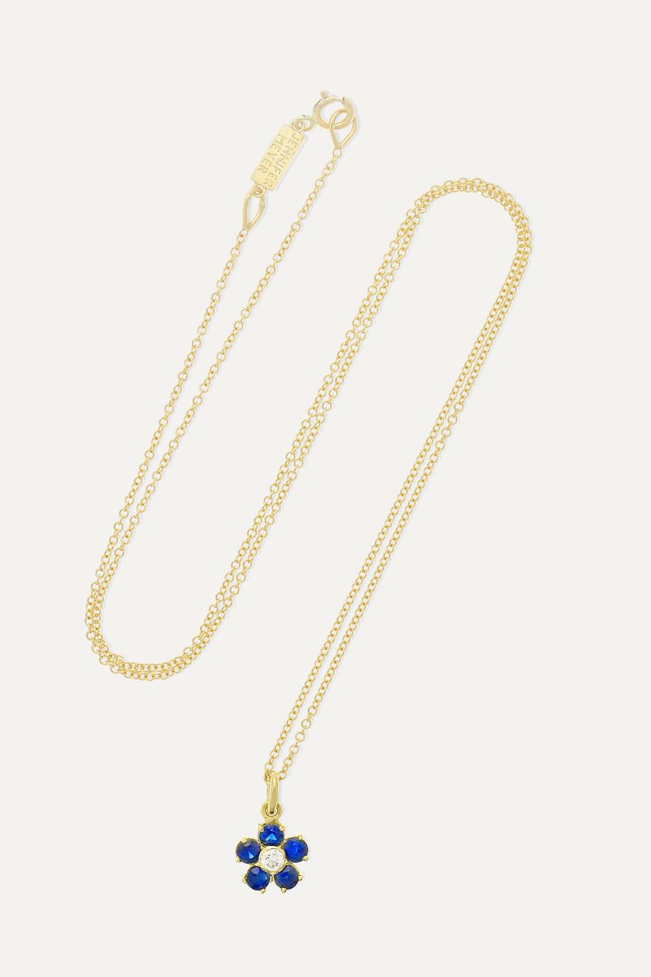 Jennifer Meyer Large Flower Kette aus 18 Karat Gold mit Saphiren und Diamant
