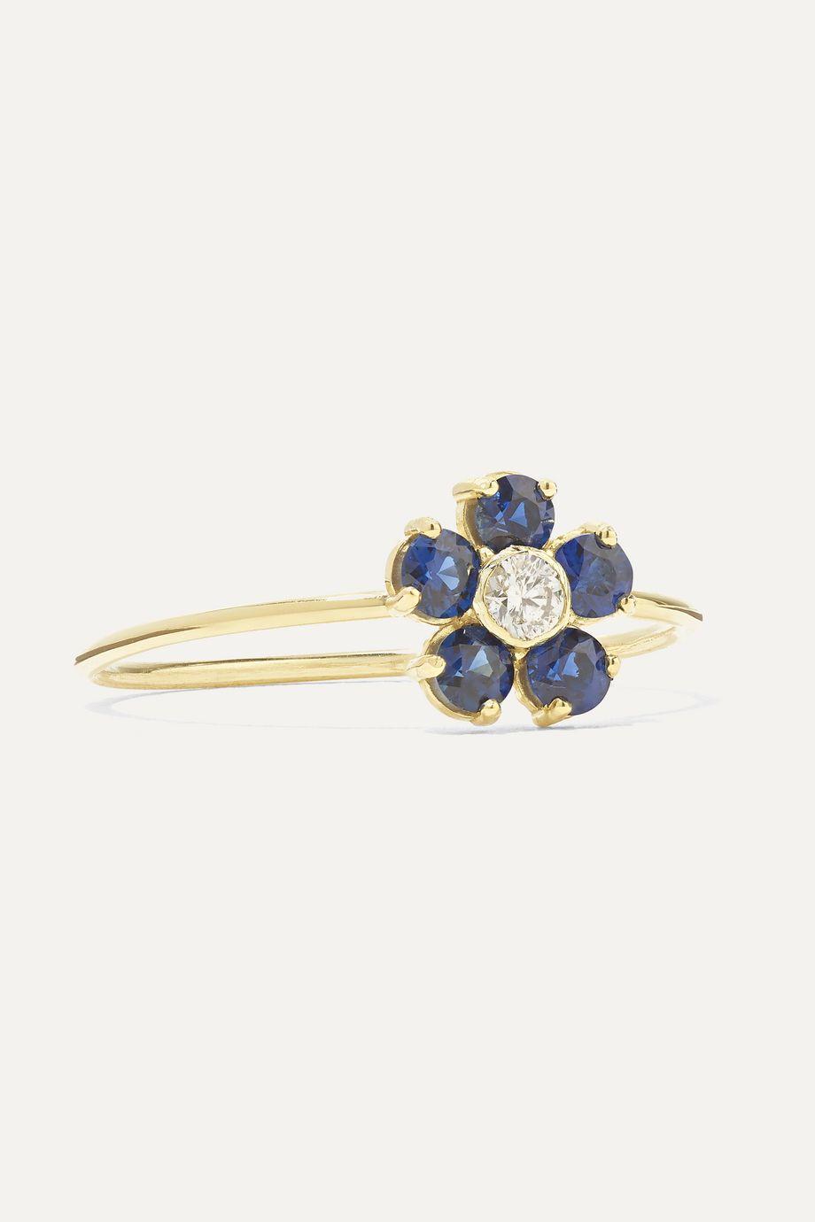 Jennifer Meyer Large Flower 18K 黄金、蓝宝石、钻石戒指