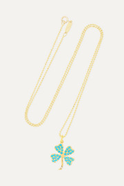 Clover 18-karat gold turquoise necklace