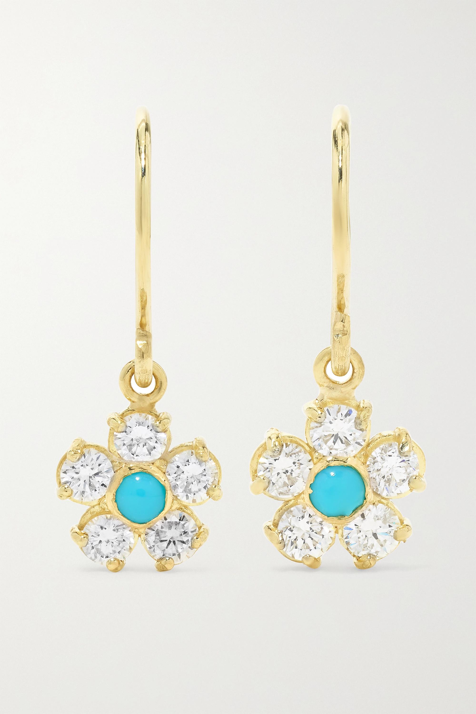 Jennifer Meyer Flower 18-karat gold, diamond and turquoise earrings