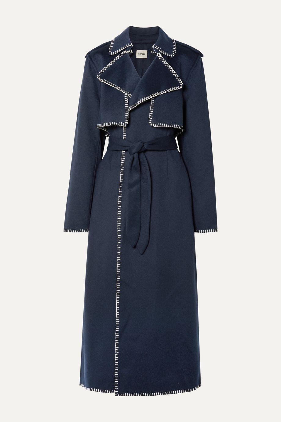 Khaite Roman oversized whipstitched felt trench coat