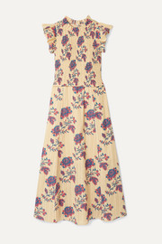 SEA Odette shirred floral-print cotton midi dress