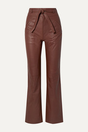 SEA Lidia belted leather straight-leg pants