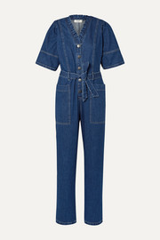 SEA Marble belted ruffled denim jumpsuit