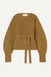 SEA Nellie belted ribbed wool sweater