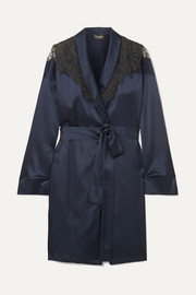 Embroidered tulle-trimmed silk-blend satin robe