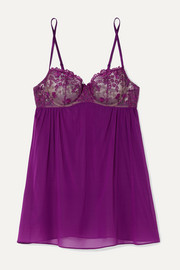 I.D. Sarrieri Embroidered silk-blend tulle and chiffon underwired chemise