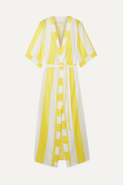 VerdeLimón Striped voile robe