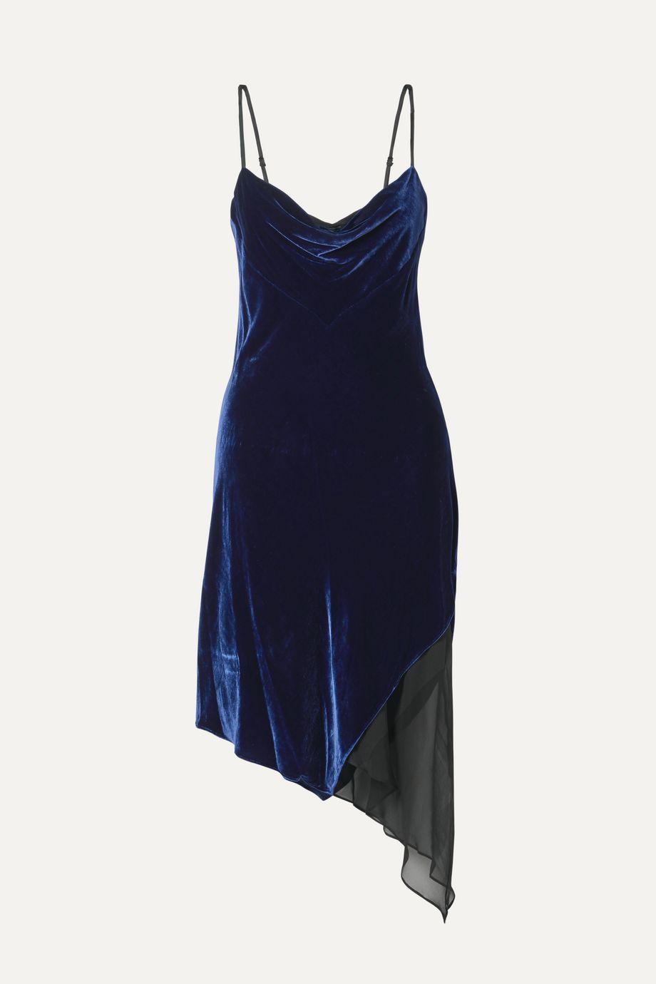 Kiki de Montparnasse Asymmetric paneled velvet and silk-chiffon dress